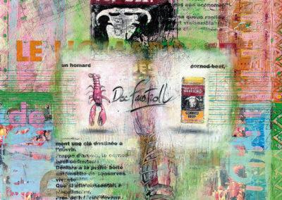 04-Le homard et le coned-beef que portait le docteur Faustroll en sautoir - 60 X 80cm